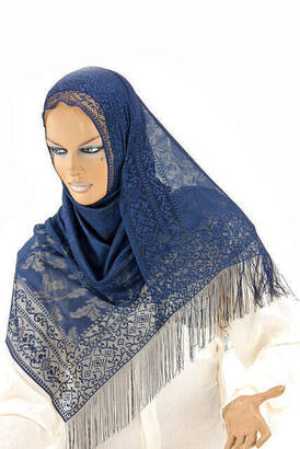 İhvan - Delicate Cotton Tulle Shawl Navy Blue