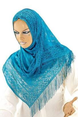 İhvan - Delicate Cotton Tulle Shawl Petrol