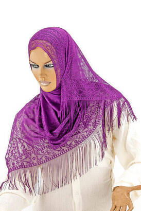 İhvan - Delicate Cotton Tulle Shawl Purple