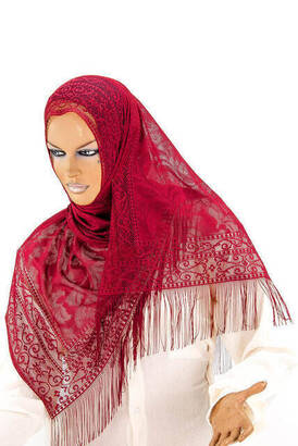İhvan - Delicate Cotton Tulle Shawl Red