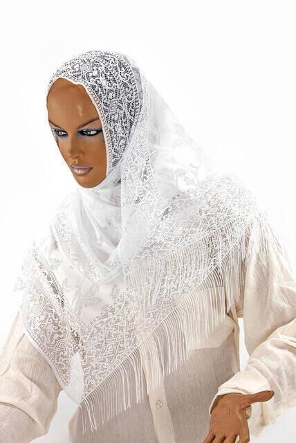 Delicate Cotton Tulle Shawl White