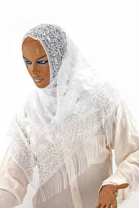 İhvan - Delicate Cotton Tulle Shawl White