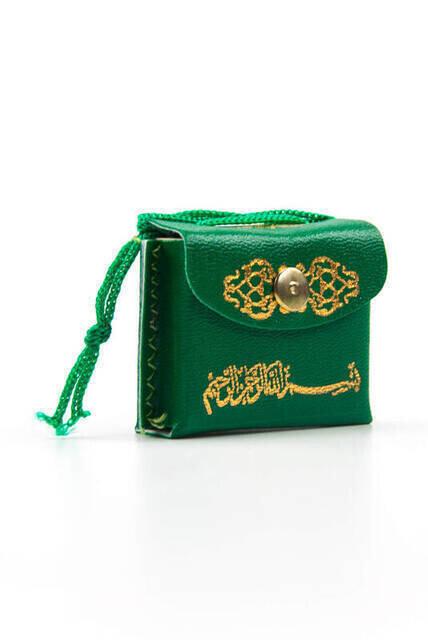 Deri Çantalı Mini Kuranı Kerim - Sade Arapça - Yeşil Renk - 25 Adet