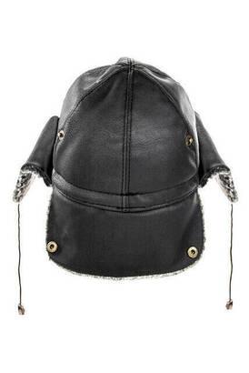 İhvan - Deri Şapka - Kulaklıklı Şapka - Siyah Renk