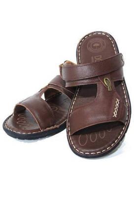 Dosso - Deri Terlik Sandalet Hac Umre Sandaleti Kahverengi