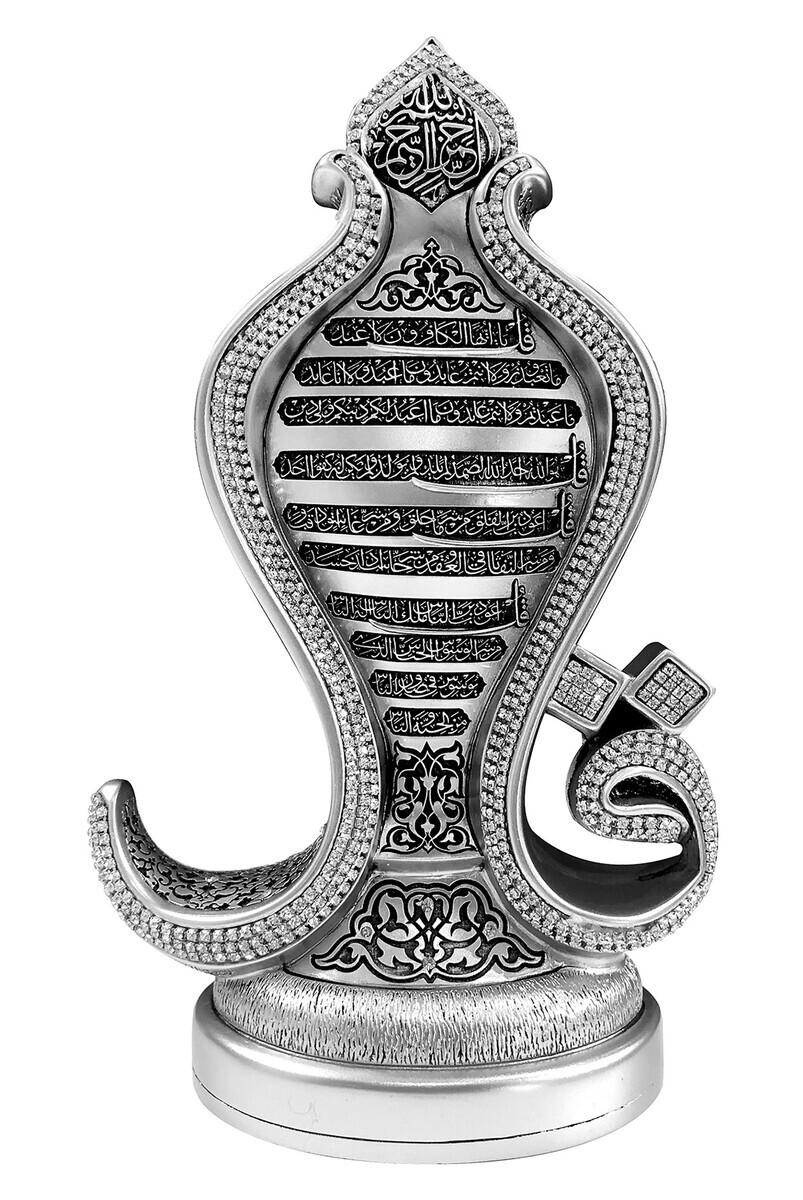 Dört Sure Dört Kûl Yazılı Kristal Taşlı Dini Hediyelik Biblo Gümüş