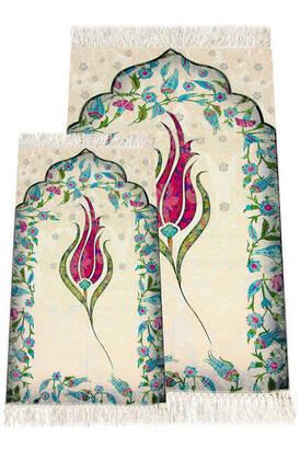 İhvan - Ebruli Laleli Anne Kız Seccade - Fuşya Renk