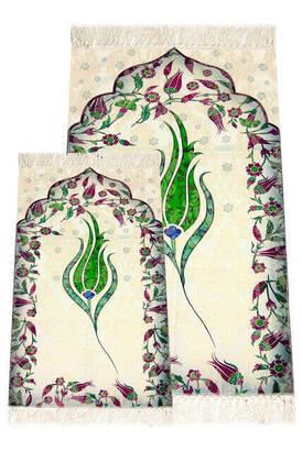 İhvan - Ebruli Laleli Father and Son Prayer Rug - Green Color
