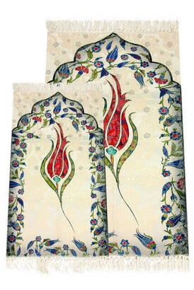 İhvan - Ebruli Laleli Father and Son Prayer Rug - Red Color