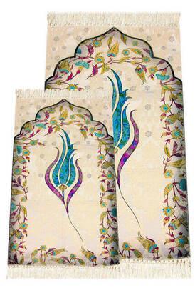 İhvan - Ebruli Laleli Father Son Prayer Rug - Blue Color