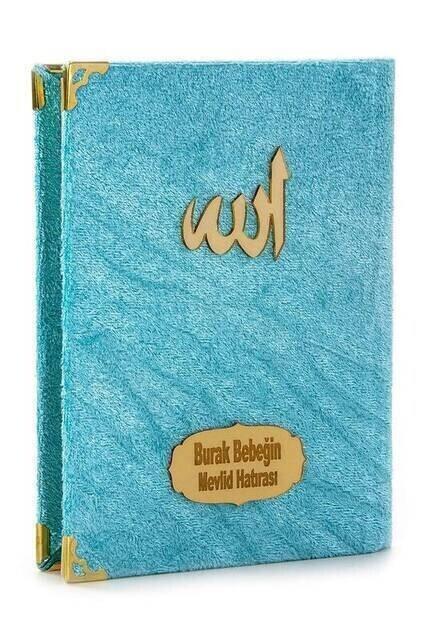 Economical Velvet Coated Yasin Book - Bag Boy - Name Printed Plate - Blue - Mevlid Gift