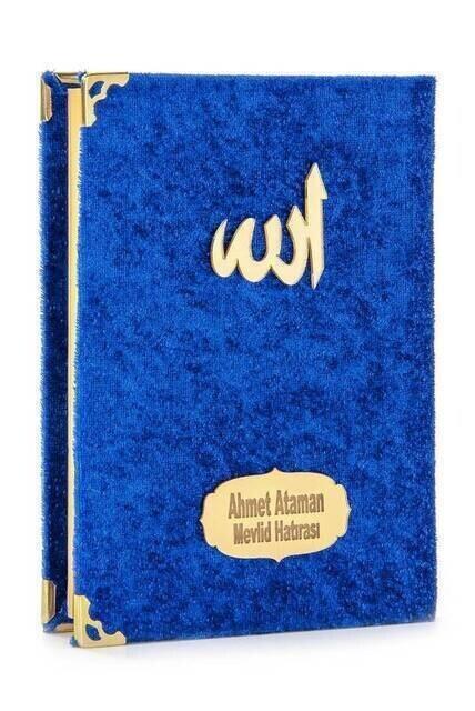 Economical Velvet Coated Yasin Book - Bag Boy - Name Printed Plate - Navy Blue - Mevlid Gift