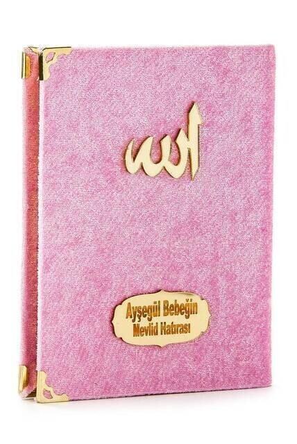 Economical Velvet Coated Yasin Book - Bag Boy - Name Printed Plate - Pink - Mevlid Gift