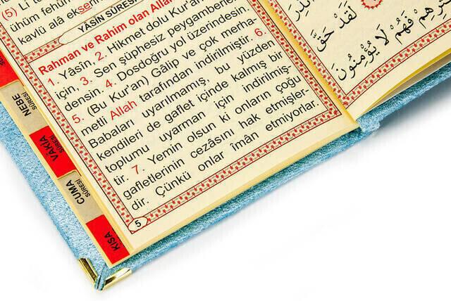 Economical Velvet Coated Yasin Book - Bag Size - Blue Color - Religious Gift