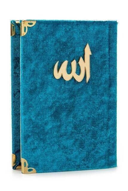 Economical Velvet Coated Yasin Book - Cep Boy - Petrol Renk - Mevlut Gift