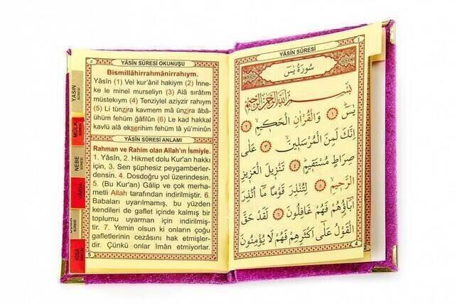 Economical Velvet Coated Yasin Book - Name Special Plate - Cep Boy - Pushhya Color - Mevlit Gift