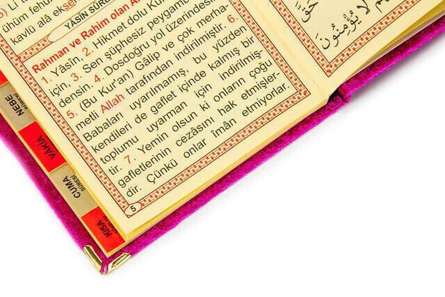 10 ADET - Ekonomik Kadife Kaplı Yasin Kitabı - Çanta Boy - Fuşya Renk - Dini Hediyelik