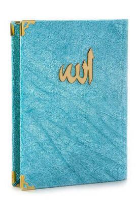 İhvan - 10 ADET - Ekonomik Kadife Kaplı Yasin Kitabı - Çanta Boy - Mavi Renk - Dini Hediyelik