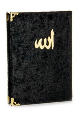 İhvan - 10 ADET - Ekonomik Kadife Kaplı Yasin Kitabı - Çanta Boy - Siyah Renk - Dini Hediyelik