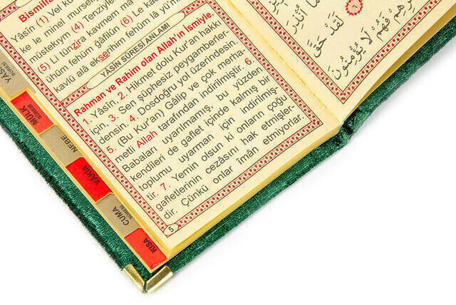 10 ADET - Ekonomik Kadife Kaplı Yasin Kitabı - Cep Boy - Yeşil Renk - Mevlüt Hediyeliği
