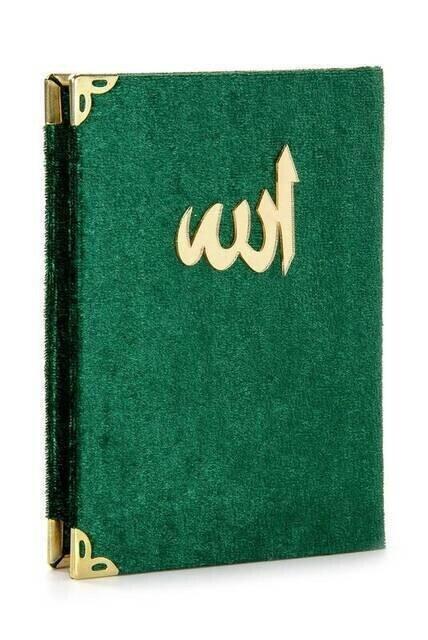 20 ADET - Ekonomik Kadife Kaplı Yasin Kitabı - Cep Boy - Yeşil Renk - Mevlüt Hediyeliği