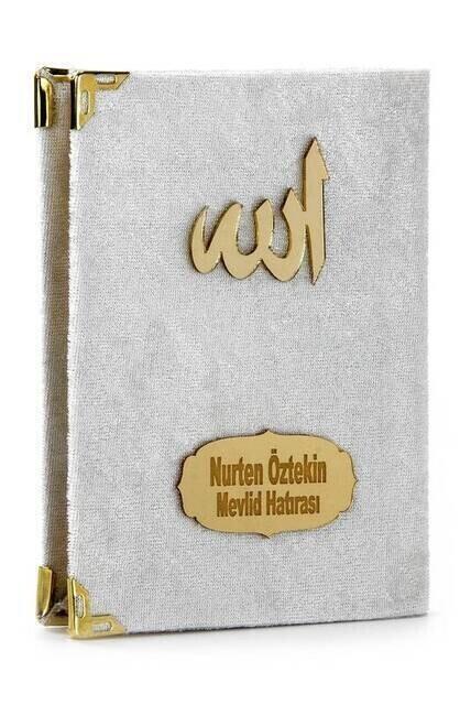 20 ADET - Ekonomik Kadife Kaplı Yasin Kitabı - İsme Özel Plakalı - Cep Boy - Beyaz Renk - Mevlit Hediyeliği