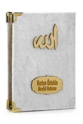 İhvan - 20 ADET - Ekonomik Kadife Kaplı Yasin Kitabı - İsme Özel Plakalı - Cep Boy - Beyaz Renk - Mevlit Hediyeliği