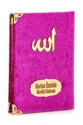 İhvan - 10 ADET - Ekonomik Kadife Kaplı Yasin Kitabı - İsme Özel Plakalı - Cep Boy - Fuşya Renk - Mevlit Hediyeliği
