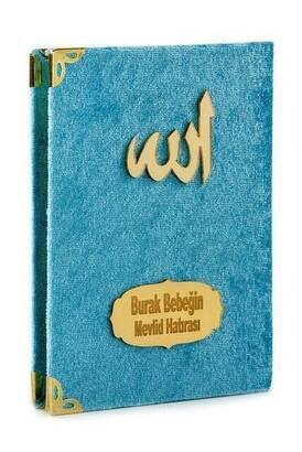 İhvan - 10 ADET - Ekonomik Kadife Kaplı Yasin Kitabı - İsme Özel Plakalı - Cep Boy - Mavi Renk - Mevlit Hediyeliği