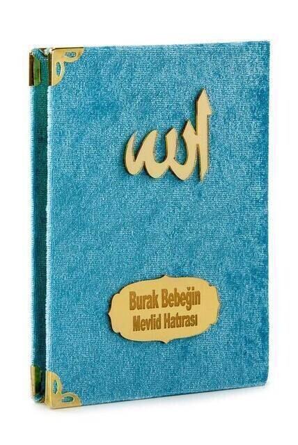 20 ADET - Ekonomik Kadife Kaplı Yasin Kitabı - İsme Özel Plakalı - Cep Boy - Mavi Renk - Mevlit Hediyeliği