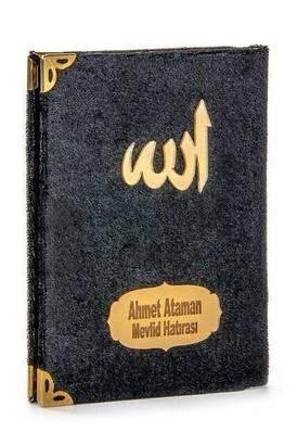 İhvan - 10 ADET - Ekonomik Kadife Kaplı Yasin Kitabı - İsme Özel Plakalı - Cep Boy - Siyah Renk - Mevlit Hediyeliği