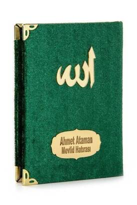 İhvan - 10 ADET - Ekonomik Kadife Kaplı Yasin Kitabı - İsme Özel Plakalı - Cep Boy - Yeşil Renk - Mevlit Hediyeliği