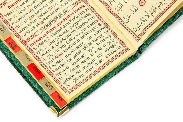 10 ADET - Ekonomik Kadife Kaplı Yasin Kitabı - İsme Özel Plakalı - Cep Boy - Yeşil Renk - Mevlit Hediyeliği