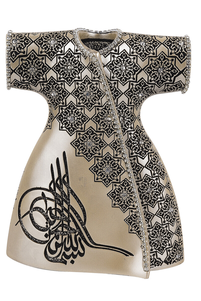 Elegant Caftan with Ottoman Tugra and Crystal Stone Religious Gift Trinket Mother of Pearl