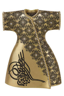İhvan - Elegant Caftan with Ottoman Tugra and Crystal Stone Religious Gift Trinket Yellow