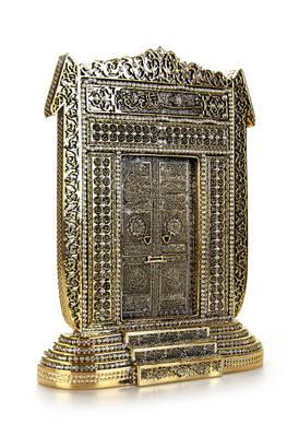 İhvan - Elif Kabe Kapısı Kristal Taş Süslemeli Dini Hediyelik Biblo Gold Renk