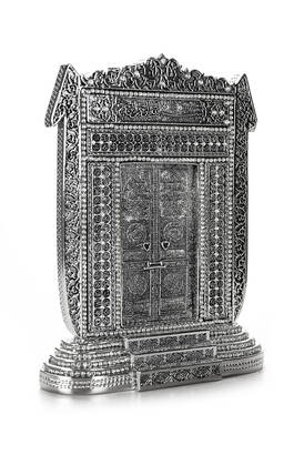 İhvan - Elif Kabe Kapısı Kristal Taş Süslemeli Dini Hediyelik Biblo Gümüş Renk