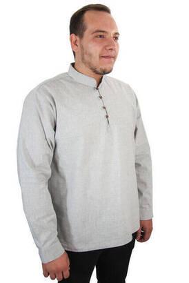 İhvan - Erkek Keten Gömlek - Gri Renk
