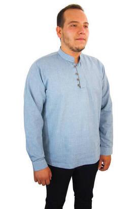 İhvan - Erkek Keten Gömlek - Mavi Renk