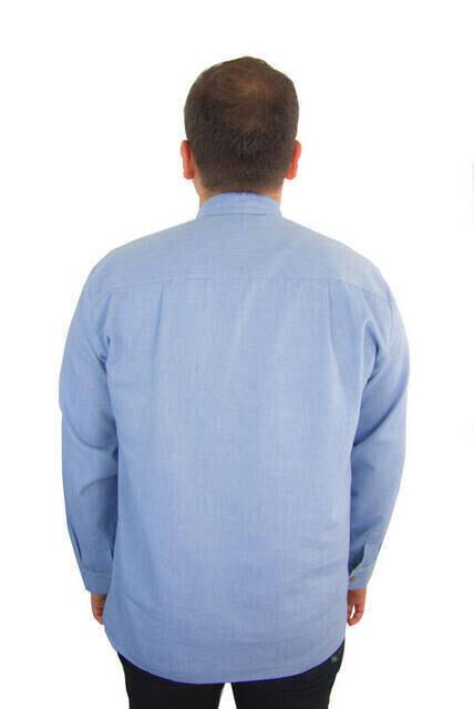 Erkek Keten Gömlek - Mavi Renk