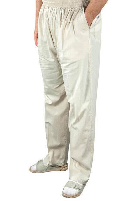 Erkek Keten Şalvar Açık Krem Renk - Hac Umre Pantolonu -1166