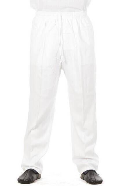 Erkek Keten Şalvar Beyaz Renk - Hac Umre Pantolonu