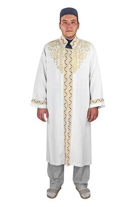 İhvan - Erkek Namaz Kıyafeti İmam Cübbesi Bordo İşlemeli Krem