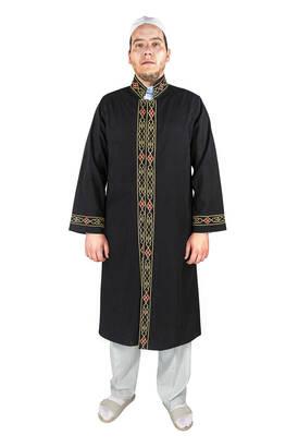 İhvan - Erkek Namaz Kıyafeti İmam Cübbesi Bordürlü Siyah