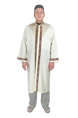 İhvan - Erkek Namaz Kıyafeti İmam Cübbesi Lale Bordürlü Krem