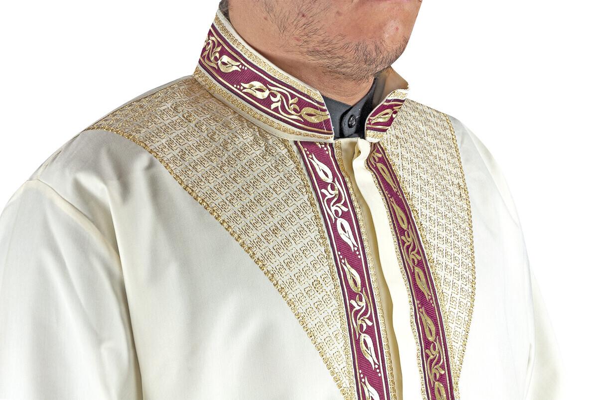 Erkek Namaz Kıyafeti İmam Cübbesi Lale Bordürlü Krem