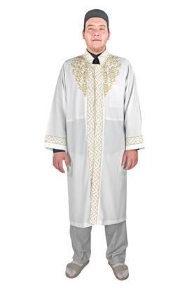 İhvan - Erkek Namaz Kıyafeti İmam Cübbesi Sırma İşlemeli Krem