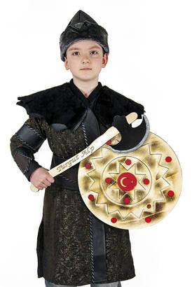 İhvan - Ertuğrul Kostüm Tam Set - Çocuk Alp Kıyafeti Siyah