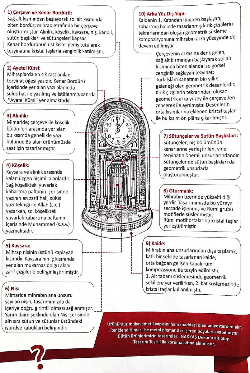 Eyüp Sultan Mosque Clock Mihrab Trinket Large Silver