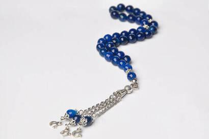 İhvan - Fasetli Mavi Akik Tesbih